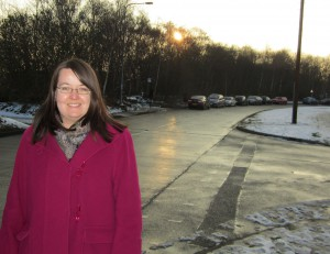 Cllr Claire Thomas on Summergroves Way where double yellow lines will be intalled